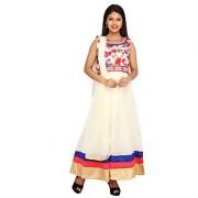 Stuties Women Anarkali net with Hand work in neck line with Chanderi Silk lining Readymade salwar kameezY097C3L Blue