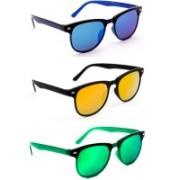 TheWhoop Wayfarer Sunglasses(Blue, Orange, Green)