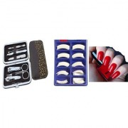Menicure Pedicure 6 in 1 Tool Kit With Nail Paint+ 100Pcs Artificial Nails