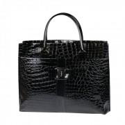 Geanta eleganta neagra Crocodile Pattern