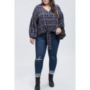Blu Pepper Tie Front Plaid Shirt Plus Size NAVY MULTI
