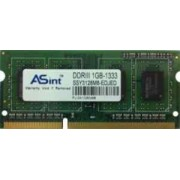 ASint - Mémoire - 1 Go - DDR3 - PC3-10600 - 1333 MHz - SO DIMM 204 Broches - SSY3128M8-EDJED