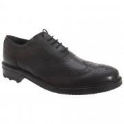 Roamers Mens 5 Eyelet Brogue Oxford Leather Shoes Black 6 UK