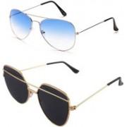 Daller Aviator, Retro Square Sunglasses(Black, Blue)