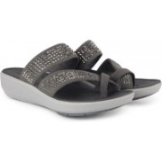 Clarks Wave Bright Silver Synthetic Slippers