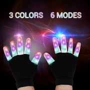 LED Gloves - LED Finger Lights Toys Gloves with 6 Modes 3 Color Flashing Rave Glow Lighting Fingertip Kids Glove Toys for Light Show (1 pack)