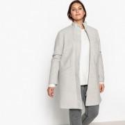 Manteau à rayures mi-long, fermeture zippée