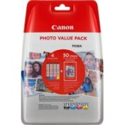 Canon Value Pack nero / ciano / magenta / giallo CLI-571 Photo Value Pack 0386C006 4 cartucce d'inchiostro: CLI-571bk + CLI-571c + CLI-571m + CLI-571y + 50 fogli 10 x 15 cm carta fotografica glossy