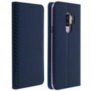 Avizar Funda Tipo Libro de Fibra de Carbono Azul para Samsung Galaxy S9 Plus