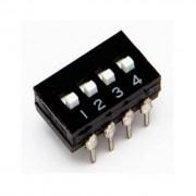 Life Dip Switch 4 Poli Per Circuiti Stampati Passo 2,54 Mm Tcs Black