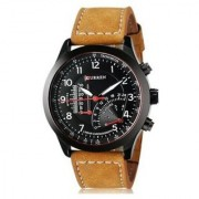 Stylist Curren Black Dial Brown Leather Belt Analog Men'S Watch By Hans-010
