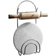 Kartik Original Chakla Belan Stand for Kitchen - 100 Rust-Free Stainless Steel Rolling Pin Board Holder Wall Mount