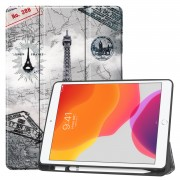 Pattern Printing Tri-fold Stand TPU Leather Smart Tablet Case with Apple Pencil Slot for iPad 10.2 (2019) - Eiffel Tower
