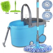 Smile Mom Magic Spin Mop with Bucket Set Offer with Big Wheels for Best 360 Degree Easy Floor Cleaning 2 Refill Head Free Microfiber Glove + Kitchen Wiper