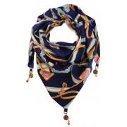 Jimena trojúhelníkový šátek s potiskem tmavě modrá