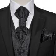 vidaXL Мъжка жилетка за сватба, комплект, пейсли мотив, размер 54, черна