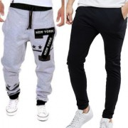 Pack Of Two Grey Black (Plain) Cotton Blend TrackPants with zipper pockets
