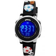 USWAT Reloj de pulsera para niños con diseño de dibujos animados en 3D, multifunción, 50 m, resistente al agua, deportivo, LED, alarma, cronómetro, digital, para niños y niñas, negro (Football Black), niño