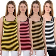 NumBrave Yellow Pink Beige White Stripes Tank Tops (Pack of 4)