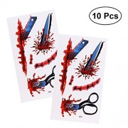 TENDYCOCO Halloween Fake Scabs Zombie Cosplay Scar Makeup Tattoos Cosplay Scar Makeup Horror Realistic Waterproof Temporary Tattoo for Halloween Costume Party Vampire Zombies Cosplay,10 Sheets