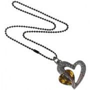 Men Style Love Heart Romanatic Yellow CrystalBlack Ball Chain Silver Cubic Zirconia Heart Pendent