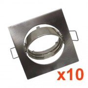 Silamp Support Spot LED GU10 Orientable Carré INOX (Pack de 10)