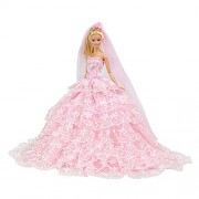 E-TING Pink Gorgeous Wedding Dress Princess Gown Clothes with Veil for Barbie Fashionista Dolls