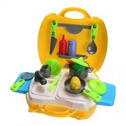 YOOMUN Early Development Pretend Play Kitchen Cooking Set for Kids Child with Portable Carrying Box, Optional Role-Playing Boys and Girls 26PCS Christmas Gifts