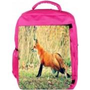 Snoogg Eco Friendly Canvas Looking Fox Designer Backpack Rucksack School Travel Unisex Casual Canvas Bag Bookbag Satchel 5 L Backpack(Pink)