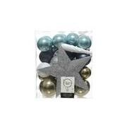 Decoris 33x Blauw/wit/bruine kerstballen met piek 5-6-8 cm kunststof