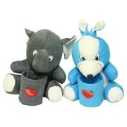 Kabir kirtika Toys' Blue Rabbit Teddy and Elephant Teddy Pen Stand Holder Adorable Gift for Kids Birthday