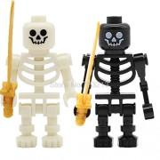 Generic Ninja White Skeleton Knight Figure Skull Castle Knights Army Model Set Building Blocks kit Brick Toys for Children White and Black