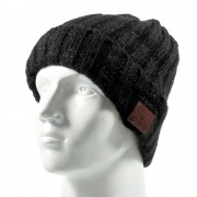 Grid Pattern Knitted Winter Warm Hat Cap Built-in Wireless Bluetooth Headphone & Microphone - Black