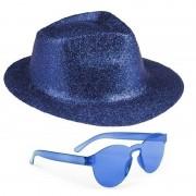 Shoppartners Blauw trilby glitter party hoedje met blauwe zonnebril