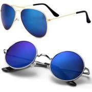 Debonair Aviator Round Sunglasses (Blue)
