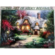 """The Art Of Nicky Boehme 1000 Piece Jigsaw Puzzle 18"""" x 25"""" Garden Cottage"""