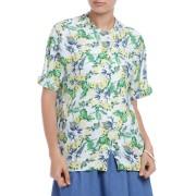 【64%OFF】ツイルトップ プリント ブラウス トロピカル xs ファッション > レディースウエア~~その他トップス