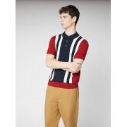 Ben Sherman Signature Colour Block Knit Polo Large Red
