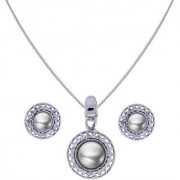 Sri Jagdamba Pearls Pearl With Cz Pendant Set