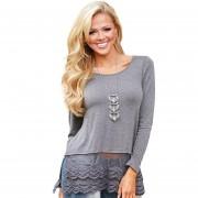 Camiseta Pure Color Lacework Spliced Para Mujer Gris.