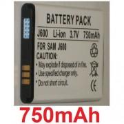 Batterie Pour SAMSUNG C3050, M600, SGH-J600, SGH-J608, SGH-J610, P/N: AB483640BE, **750mAh**