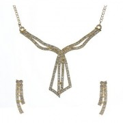 Kriaa by JewelMaze Gold Plated White Austrian Stone Zinc Alloy Necklace Set-AAA0758