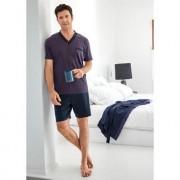 Jado man's home Lieblings-Pyjama No. 28 oder Lieblings-Bademantel, 52 - Dunkelblau/Rot - Pyjama