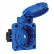 Priza schuko incastrabila albastra pentru tablouri electrice 16A protectie copii IP54