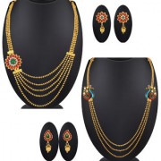 Spargz Gold Plated Kemp Stone Wedding Party Multi Layer Pack Of 2 Long Necklace Set For Women COMBO 684