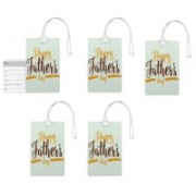 100yellow Luggage Tags- Happy Father's Day Print Premium Quality PVC Bag Tag with Silicon Strap- Gift For Father-Pack Of 5 Luggage Tag(Multicolor)
