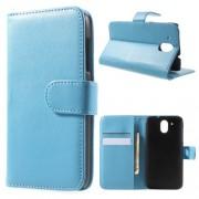 Кожен калъф за HTC Desire 526 / 526G+ Dual SIM - бебешко синьо