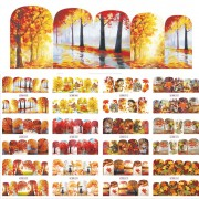 1 Sets 12 Ontwerpen Beauty Fall Thema Nail Art Sticker Decals Nagels Decoraties DIY Tattoos Manicure Gereedschap SABN505-516 Sara Nail Salon