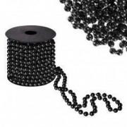Sirag margele decorative de Craciun pentru brad 8mm x 10m negru