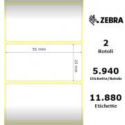 Etichette Zebra - 8000T Cryocool, formato 51 x 25